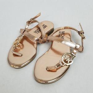 Michael Kors Rose Gold Toddler T-Strap Sandals 7